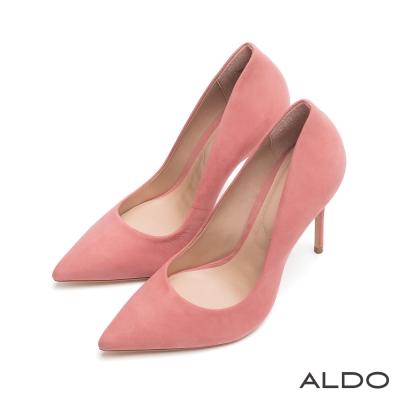 ALDO-摩登美人IN原色真皮尖頭細高跟鞋-櫻花粉