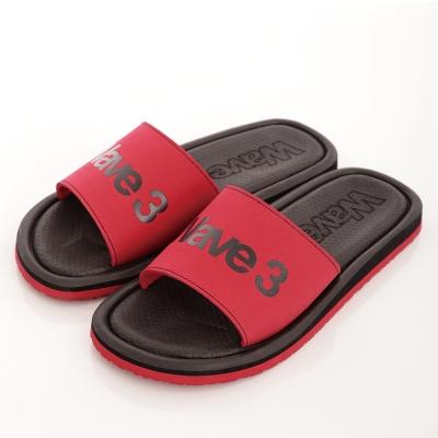 WAVE3【男】 台灣製 天鵝絨LOGO印刷一片拖鞋~黑紅
