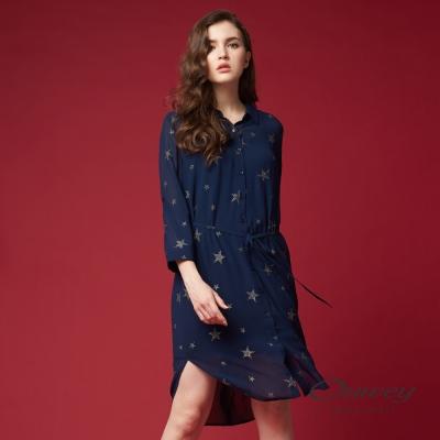 OUWEY歐薇 燙金星星雪紡洋裝(藍)