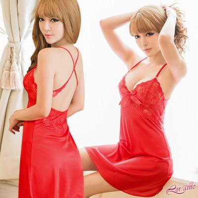 性感睡衣 大紅蕾絲交叉美背睡衣(紅F) Lorraine