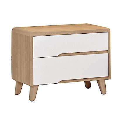 品家居 珍比妮1.8尺木紋雙色二抽床頭櫃-55x40x47cm-免組