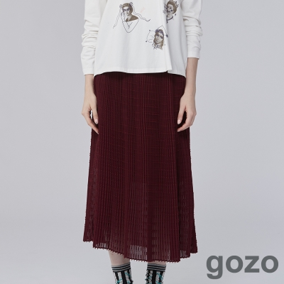 gozo 法式浪漫調性雪紡壓褶裙-動態show