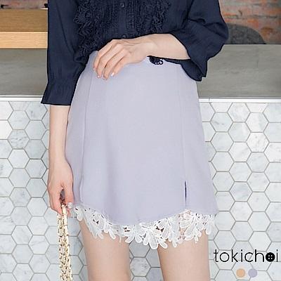 東京著衣 下襬拼接蕾絲短裙-XS.S.M.L(共二色)