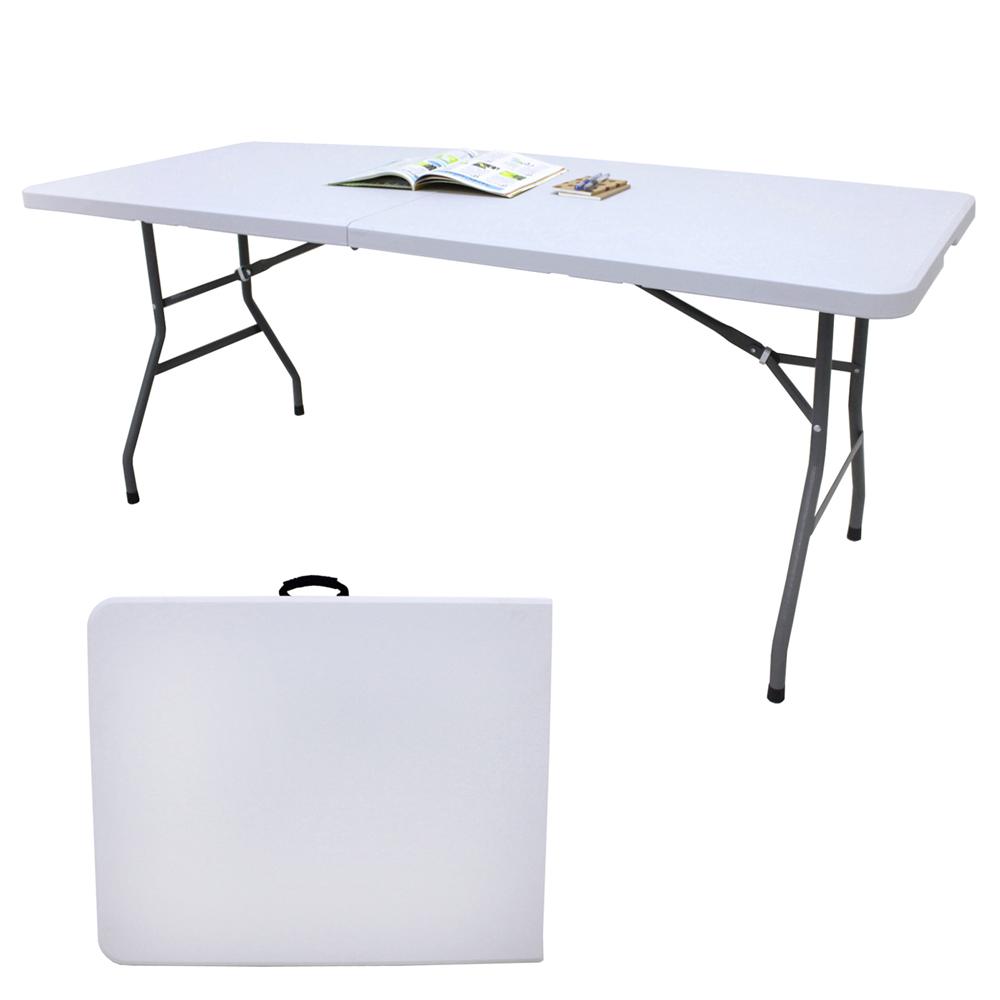 【免工具】寬180公分(4公分厚度)對疊折疊桌/書桌/餐桌/工作桌/野餐桌