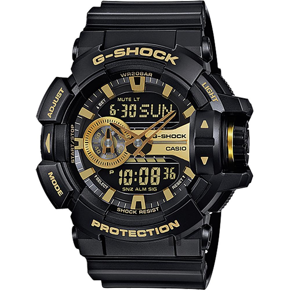 CASIO卡西歐 G-SHOCK 金屬系雙顯手錶-經典黑金