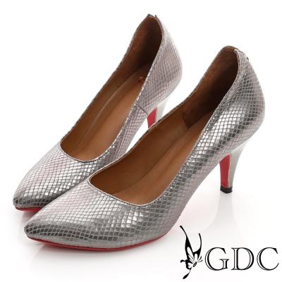 GDC都會-V切口紅底尖頭真皮中跟鞋-槍灰色