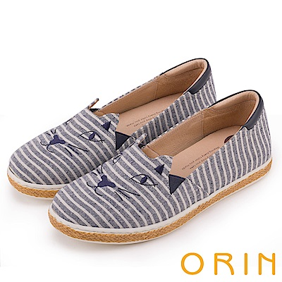 ORIN 俏麗女孩 趣味貓咪甜美平底便鞋-條紋藍