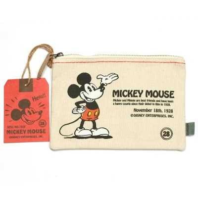 sun-star 迪士尼復古米奇扁平帆布大筆袋