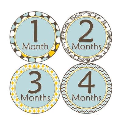 First-Year零歲寶寶成長記錄妙衣貼-清新淺藍