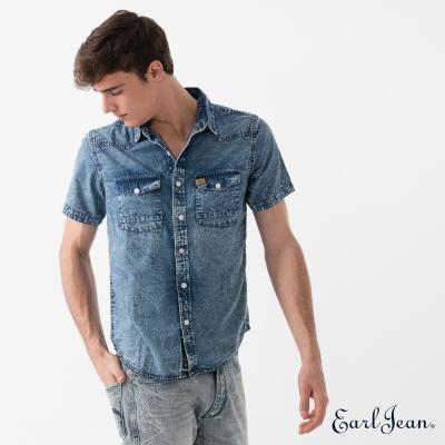 Earl Jean 雪花洗舊短袖牛仔襯衫-藍-男