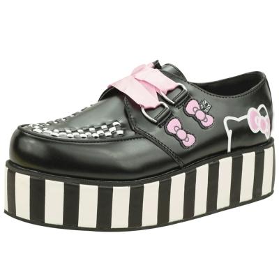 TUK+ HK 凱蒂貓粉紅絲帶經典龐克鞋-黑