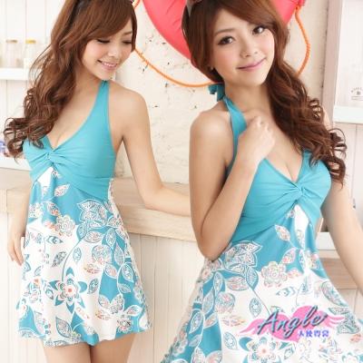 泳衣 甜蜜浪花 一件式連身泳裝(藍M~XL) AngelHoney天使霓裳