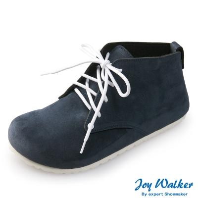 Joy Walker 高筒拼接綁帶包鞋*藍色