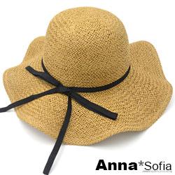 AnnaSofia 細黑綁帶波浪邊 寬簷防曬遮陽草帽淑女帽(駝系)