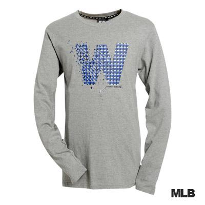 MLB-華盛頓國民隊幾何logo棉質T恤-灰(男)