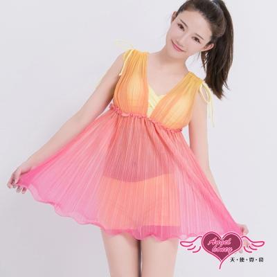 泳衣 愛戀虹彩 兩件式鋼圈泳裝(黃M~2L)AngelHoney天使霓裳