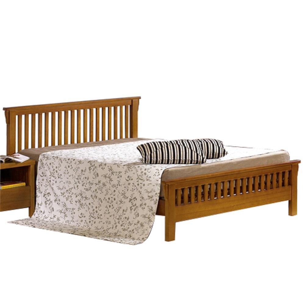 AT HOME - 圖文第5尺柚木雙人床架(不含床墊)-162*200*100cm