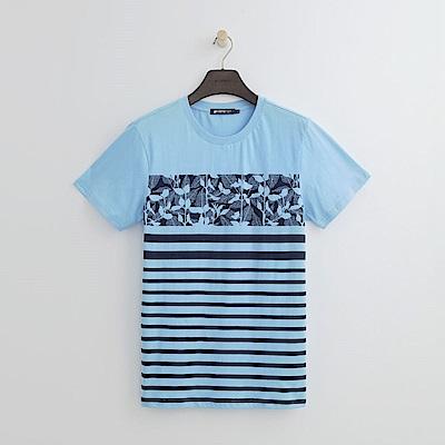 Hang Ten - 男裝 - 渡假風印花條紋上衣-藍色