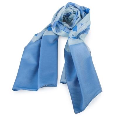 ARMANI COLLEZIONI 經典虛線大LOGO絲質圍巾-天藍色