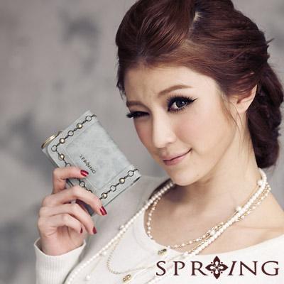 【SPRING】時尚名模~英倫美學刺繡零錢包-咖啡綠(共兩色)