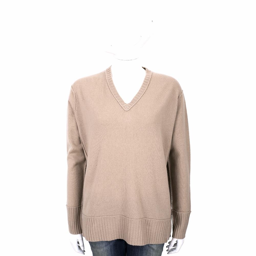 ALLUDE 喀什米爾駝色V領織紋羊毛衫