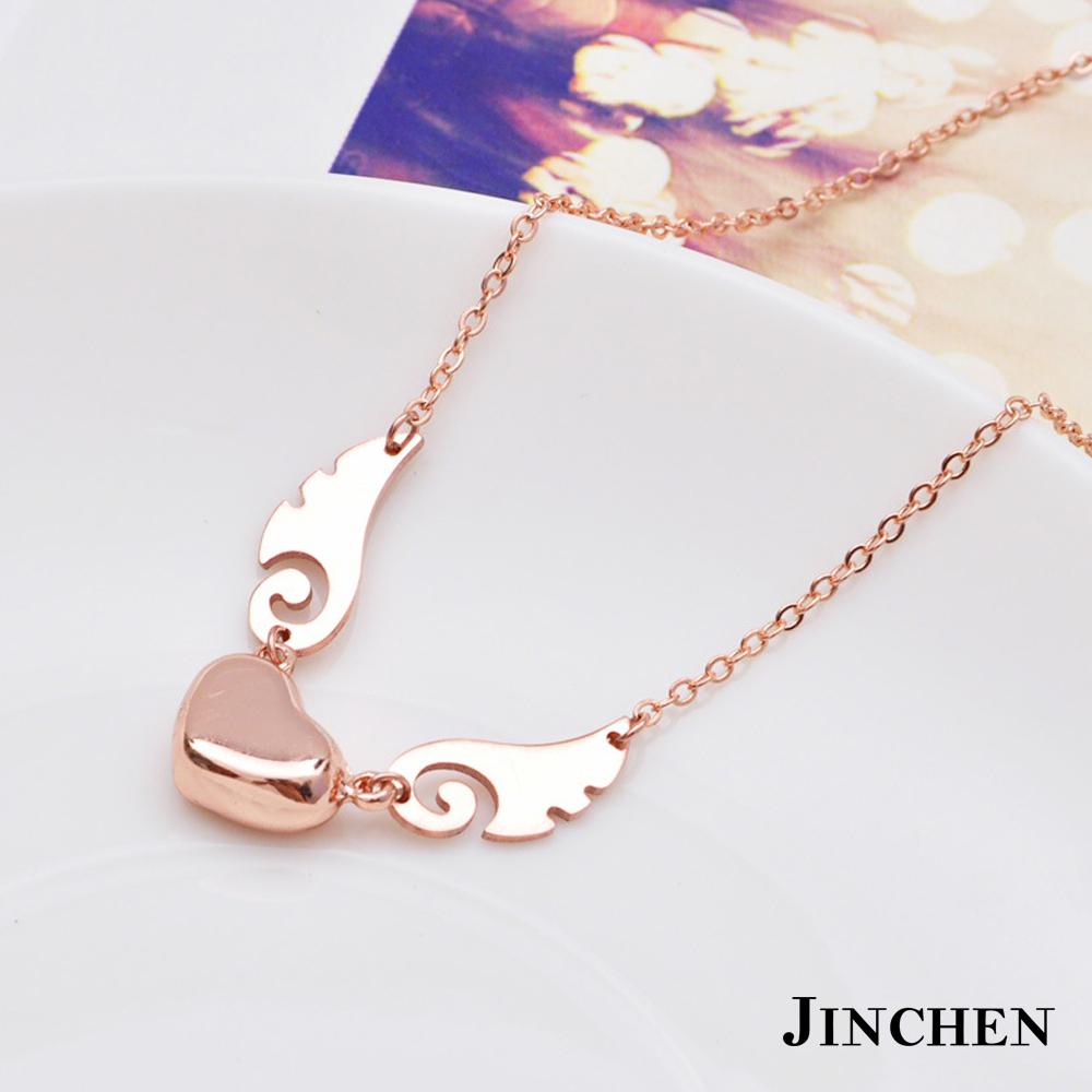 JINCHEN 白鋼天使心女性項鍊-玫瑰金