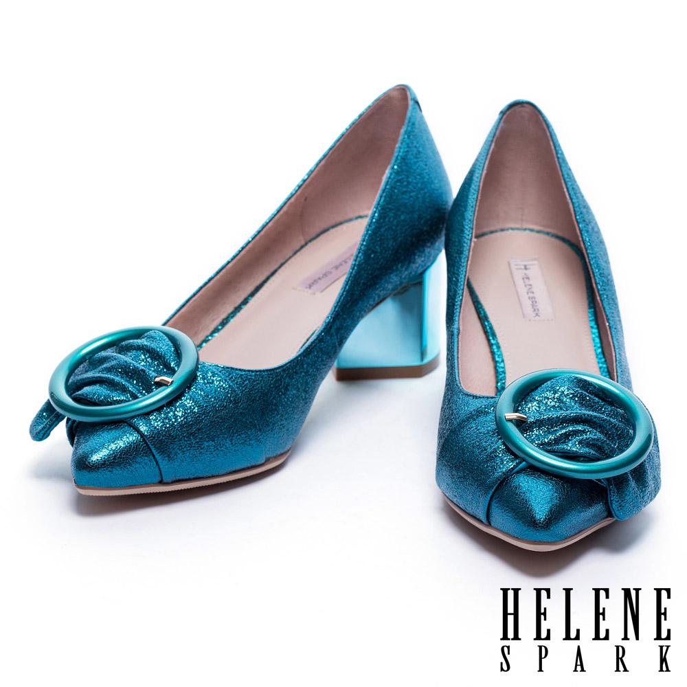 跟鞋 HELENE SPARK 摩登金屬圓形飾釦尖頭高跟鞋-藍
