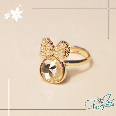 iSFairytale伊飾童話 白晶水滴 珍珠活動戒指