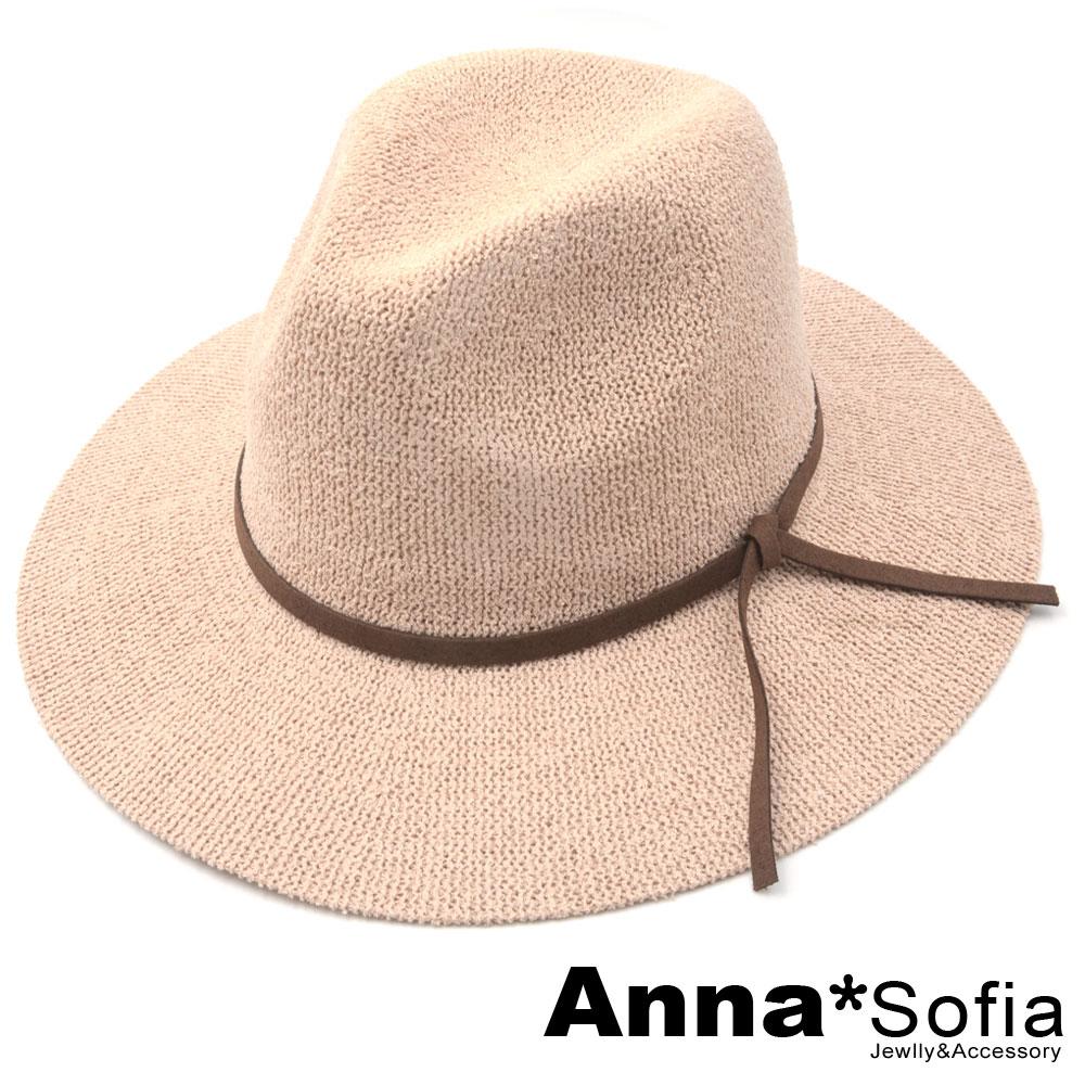 AnnaSofia 麂絨繩結帶 線織寬簷遮陽紳士帽爵士帽(藕粉系)