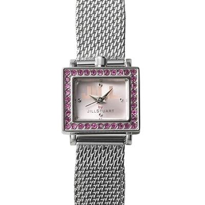 JILL STUART DECO MESH系列晶鑽方型腕錶-粉x紫鑽/19mm
