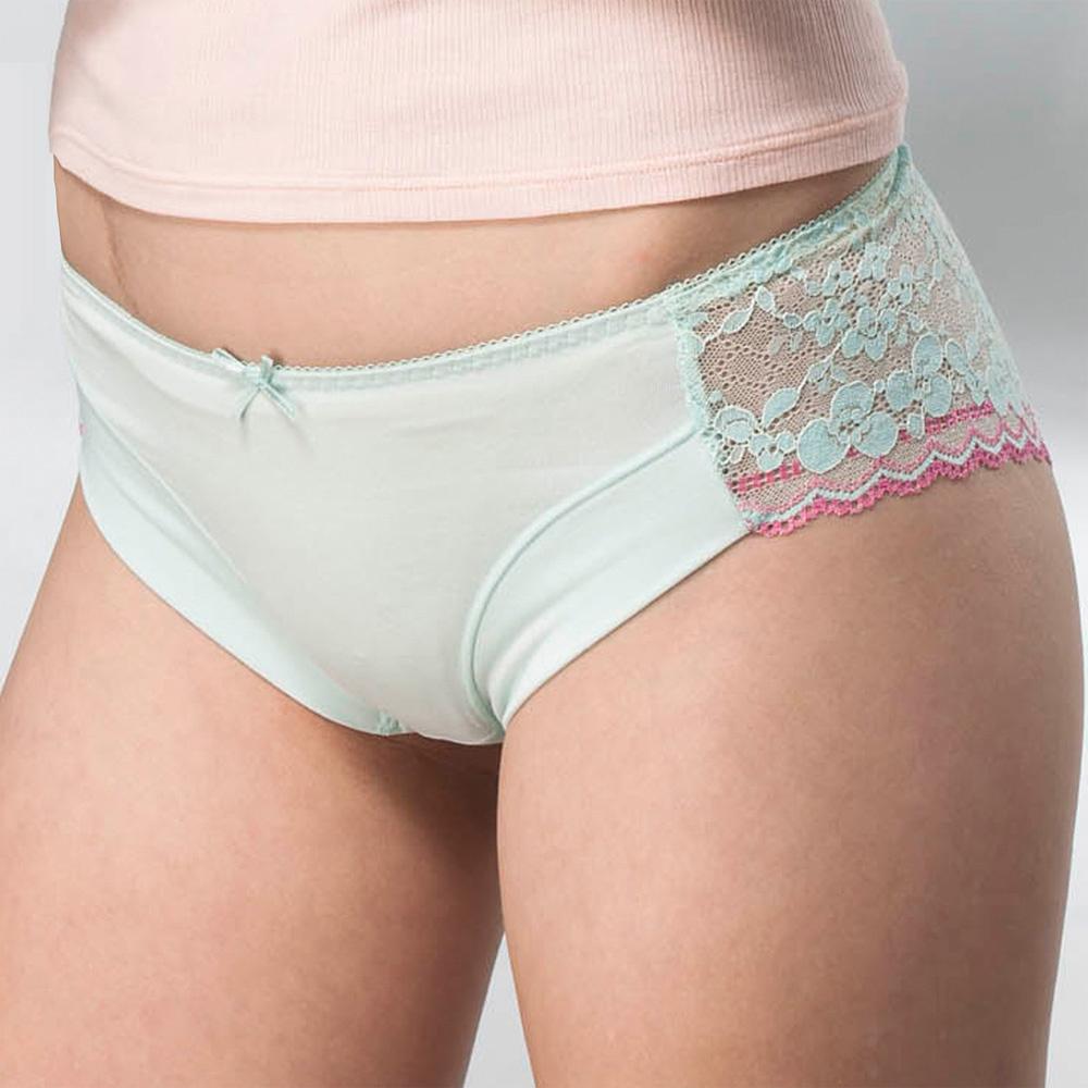 華歌爾  豪華蕾絲M-LL中低腰三角褲(薄荷綠)