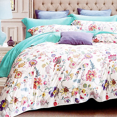 Lily Royal-60支頂級天絲銀纖維 雙人四件式兩用被床包組-菲莉安