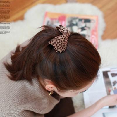 豹紋布藝雙層蝴蝶結髮夾-2入-ZARATA