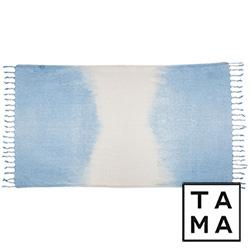 TAMA 天然純淨頂級土耳其手工平織薄巾(淡暈藍水色)