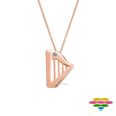 彩糖鑽工坊 14K玫瑰金 豎琴 音符鑽石項鍊 幸福樂章 Happiness系列