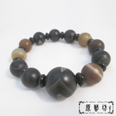原藝坊 瑪瑙天珠圓珠手鍊(主珠約2cm)