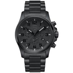 LUMINOX 雷明時戰場系列藍寶鏡面三眼鬧鈴腕錶-PVD黑/45mm