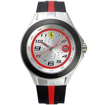 Scuderia Ferrari 法拉利 競速賽車日期腕錶-銀x黑/44mm