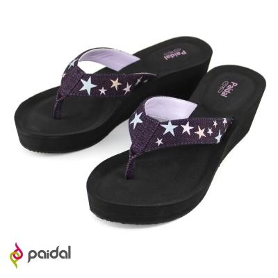 Paidal星光閃耀膨膨氣墊美型夾腳拖鞋-閃耀黑