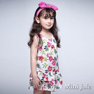 Mini Jule 童裝-洋裝 花卉雙層下擺後拉鍊背心洋裝(米白)