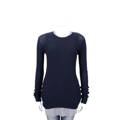 ALLUDE 深藍色圓領針織長袖上衣 (30%CASHMERE/不含灰背心)
