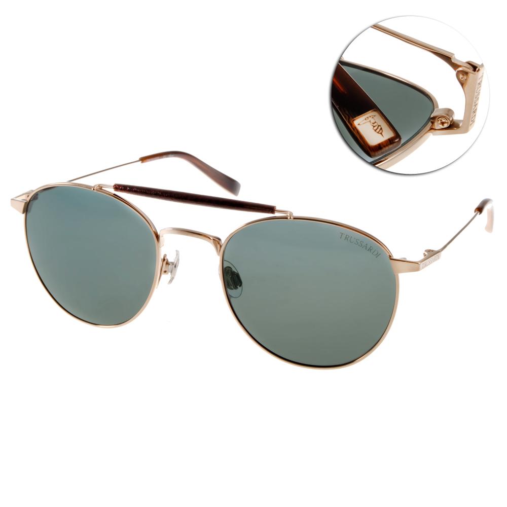 TRUSSARDI太陽眼鏡 超夯歐美時尚復古圓框墨鏡/金-墨綠色#TR12912 GD
