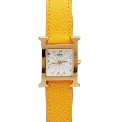 HERMES H-our系列小牛皮金框石英女仕腕錶-白x黃色錶帶/21mm