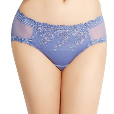 思薇爾 莫內花宴系列M-XXL刺繡蕾絲中腰三角褲(印象紫)