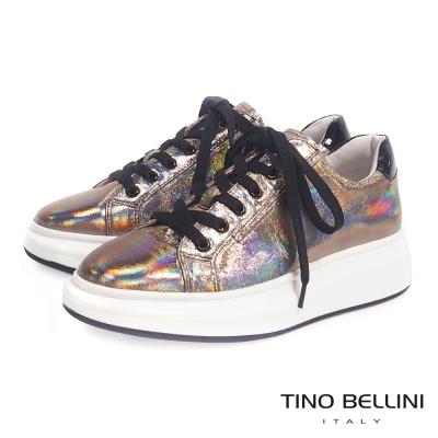 Tino Bellini 美式街頭厚底綁帶休閒鞋_炫光金