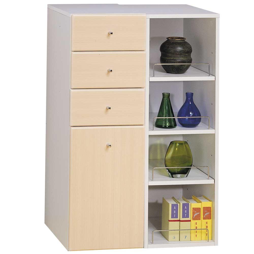 米妮Mini 大細縫/抽屜收納櫃組-白橡色