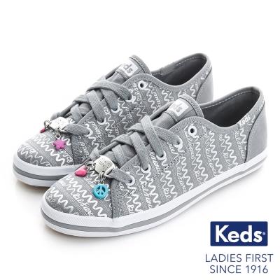 Keds 可愛墜飾綁帶休閒鞋(For Kids)-灰色