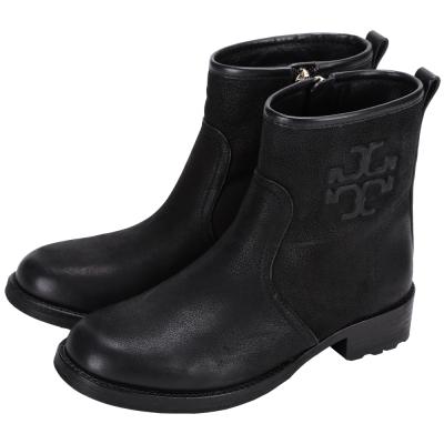 TORY BURCH Simone 仿舊浮刻Logo設計短靴(黑色)