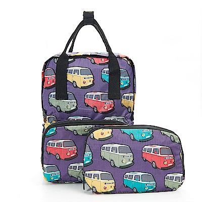 英國ECO CHIC方形折疊收納迷你後背包 可愛巴士 紫