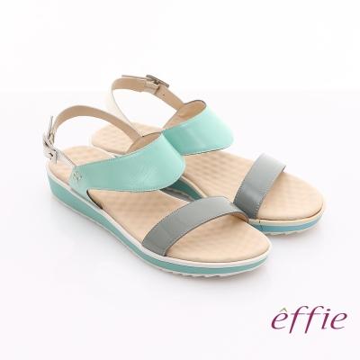 effie 繽紛馬卡龍 鏡面牛皮雙條帶涼鞋 綠